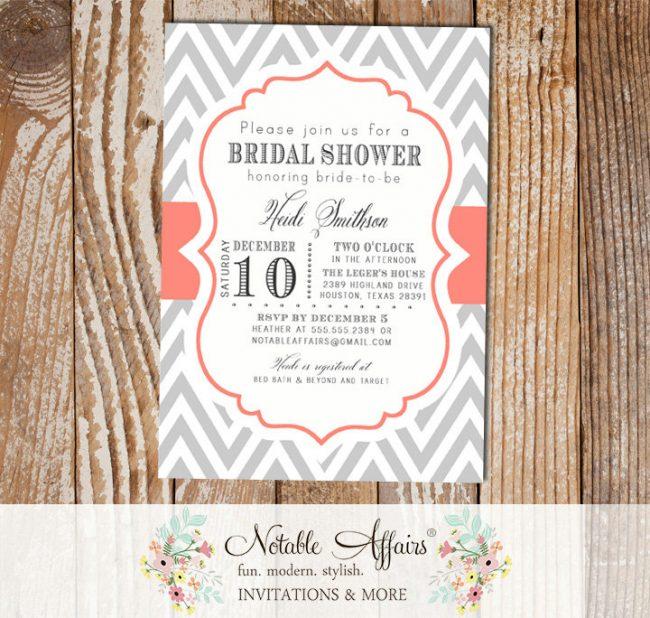 Gray and Coral Chevron Modern Elegant Bridal Shower Baby Shower Birthday Invitation