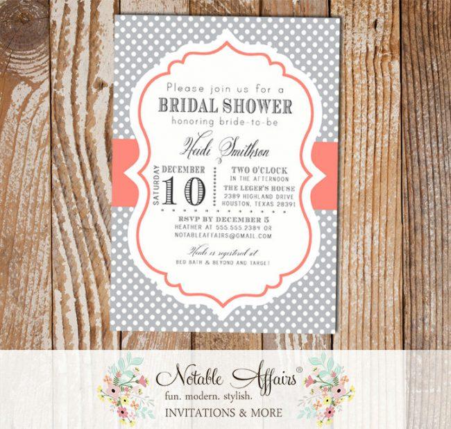 Gray and Coral Polka Dot Modern Elegant Bridal Shower Baby Shower Birthday Invitation