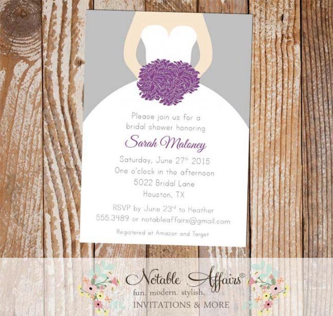 Gray and Dark Purple Bridal Wedding Shower invitation
