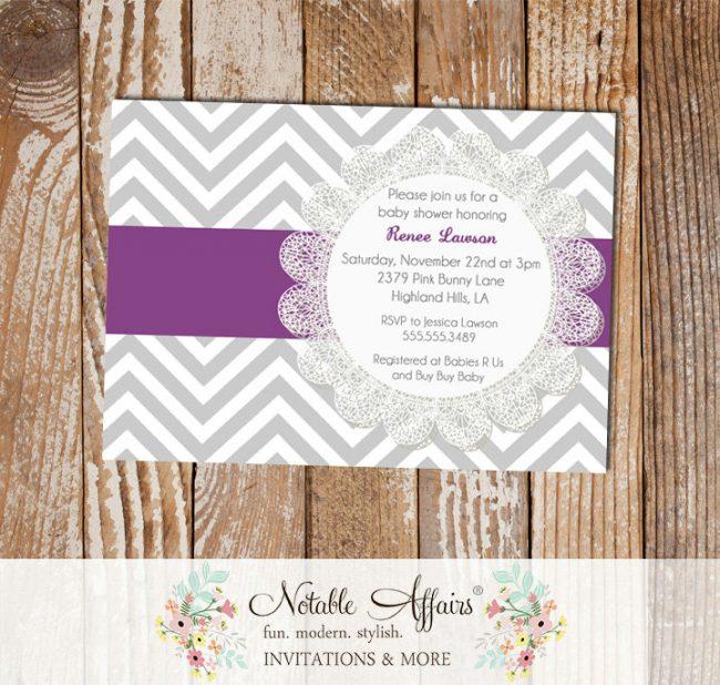 Gray and Dark Purple Eggplant Chevron Lace Bridal Shower Birthday Baby Shower etc Invitation