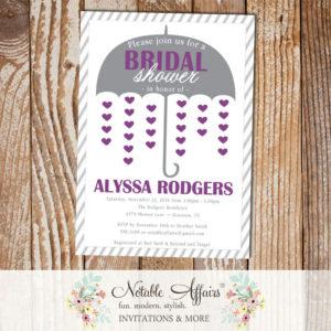 Gray and Dark Purple Umbrella Hearts Bridal Wedding Shower invitation