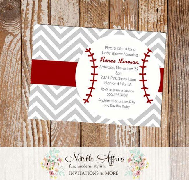 Gray and Dark Red Chevron Baseball Baby Shower, Birthday Invitation