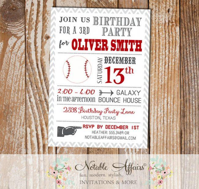 Gray and Dark Red Chevron Baseball Modern Birthday Party Invitation