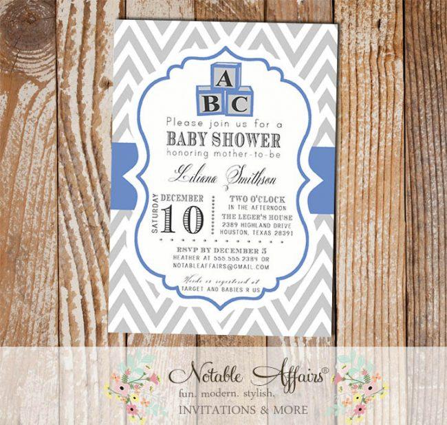 Gray and Dull Blue ABC Blocks Modern Baby Shower, Bridal Shower, Birthday, etc Invitation