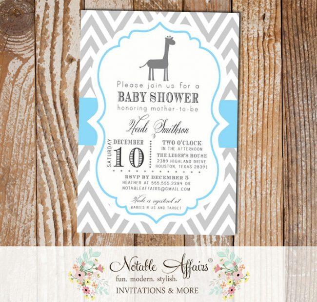 Gray and Ice Blue Chevron with Giraffe Baby Boy Shower Invitation