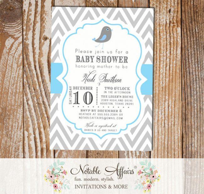 Gray and Ice Blue Chevron with Little Bird Birdie Baby Boy Shower Invitation