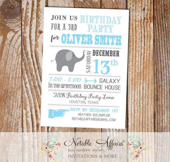 Gray and Ice Blue Modern Elephant Boy Birthday Party Invitation