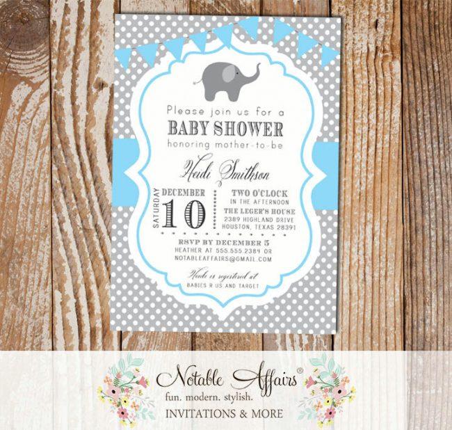 Gray and Ice Blue Polka Dot Elephant Baby Boy Birthday Shower Invitation with bunting