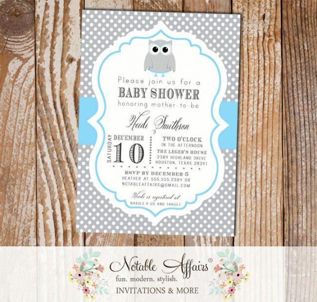 Gray and Ice Blue Polka Dot Owl Baby Boy Birthday Baby Shower Invitation