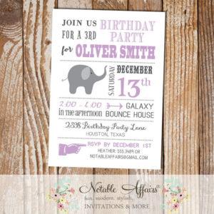 Gray and Lavender Elephant Modern Birthday Invitation