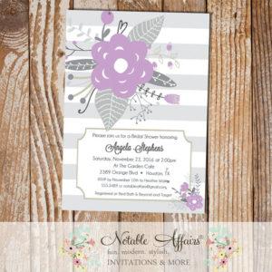 Gray and Lavender Flower Posies Modern Floral Bridal Shower invitation