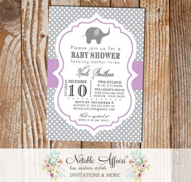 Gray and Lavender Polka Dot Elephant Modern Baby Shower Birthday Invitation