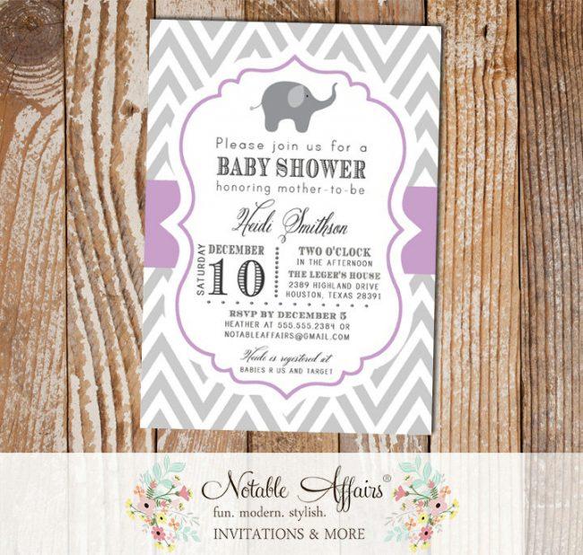 Gray and Lavender Purple Chevron Elephant Modern Baby Shower Birthday Invitation