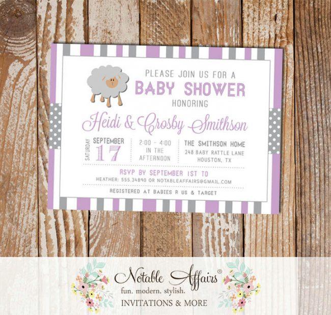 Gray and Lavender Sheep Stripes and Polka Dots Baby Shower invitation