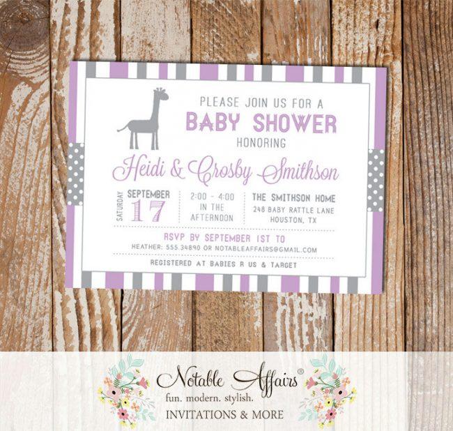 Gray and Lavender Stripes Polka Dots Giraffe Modern Baby Shower Invitation