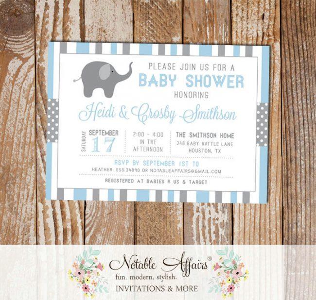Gray and Light Baby Blue Stripes Dots Elephant Baby Shower Invitation