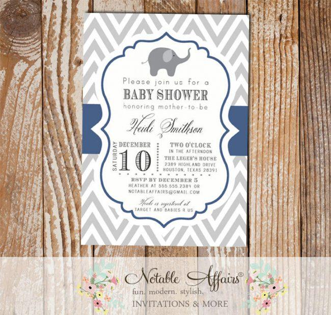 Gray and Light Navy Chevron with Elephant Baby Shower Invitation