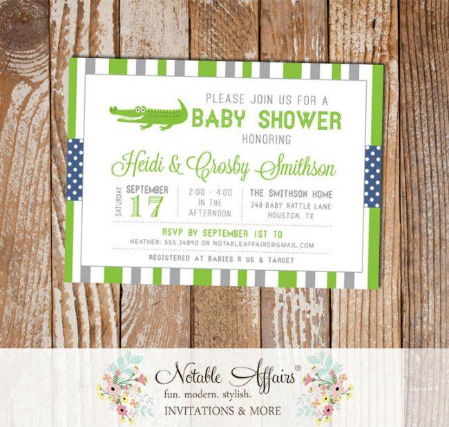 Gray and Light Navy Gator Stripes and Polka Dots Baby Shower invitation