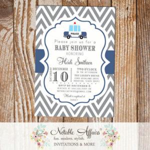 Gray and Light Navy Police Car Baby Shower invitation