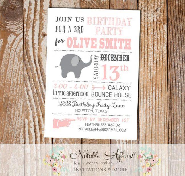 Gray and Light Pink Blush Elephant Modern Birthday Invitation