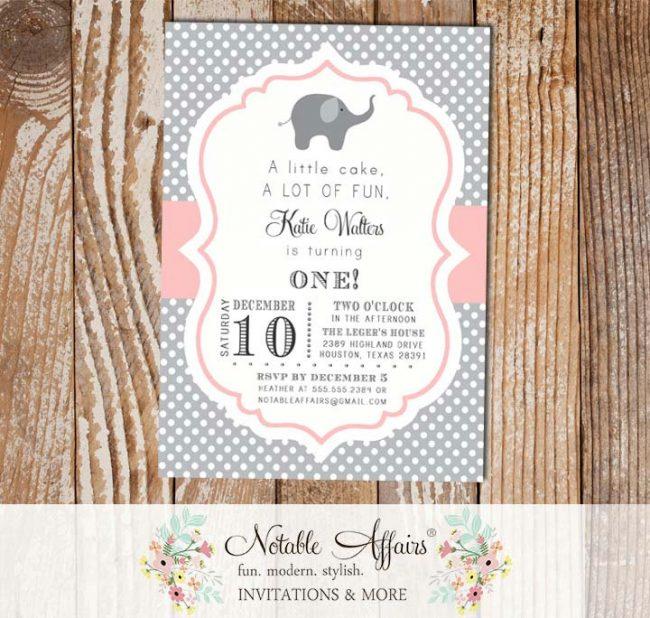 Gray and Light Pink Blush Elephant Polka Dot Birthday Invitation