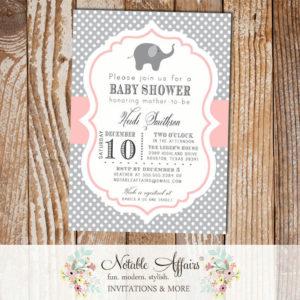 Gray and Light Pink Blush Elephant Polka Dot Modern Baby Shower BIrthday Invitation