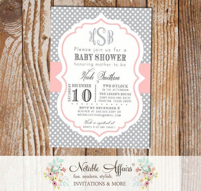 Gray and Light Pink Blush Monogram Polka Dot Modern Baby Shower Birthday Invitation