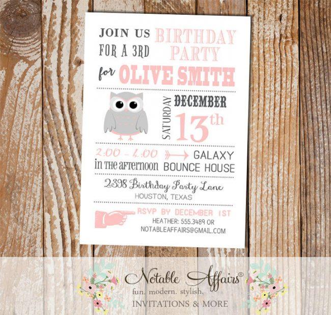 Gray and Light Pink Blush Owl Modern Birthday Invitation