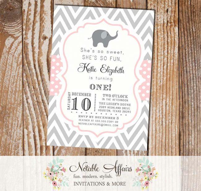 Gray and Light Pink Chevron Polka Dots with Elephant Modern Girl Birthday Invitation