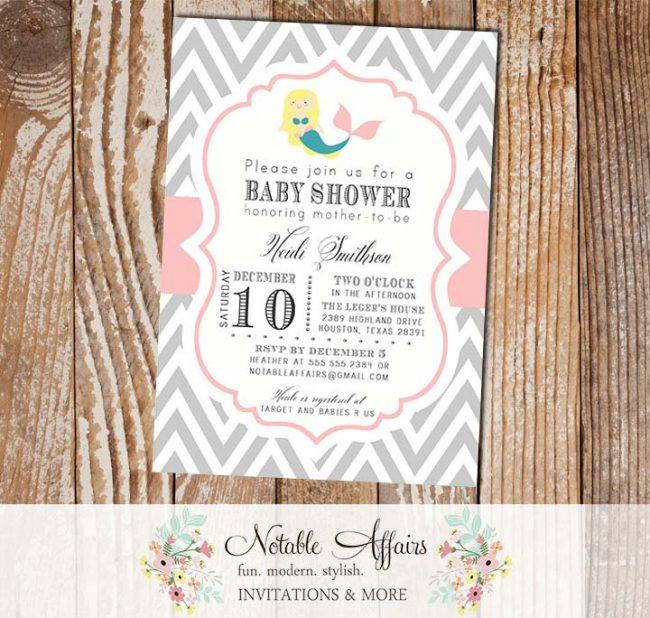 Gray and Light Pink Chevron with BLONDE Mermaid Modern Girl Baby Shower Birthday Invitation