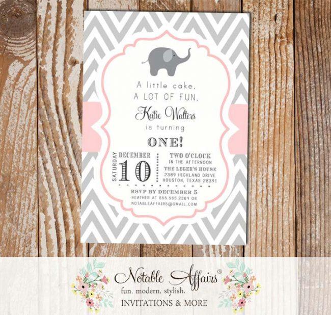Gray and Light Pink Chevron with Elephant Modern Girl Birthday Invitation