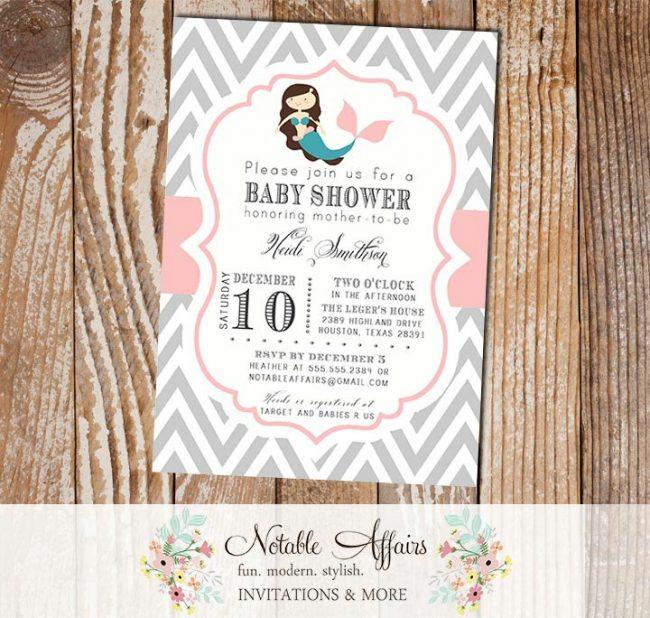 Gray and Light Pink Chevron with Mermaid Modern Girl Baby Shower Birthday Invitation