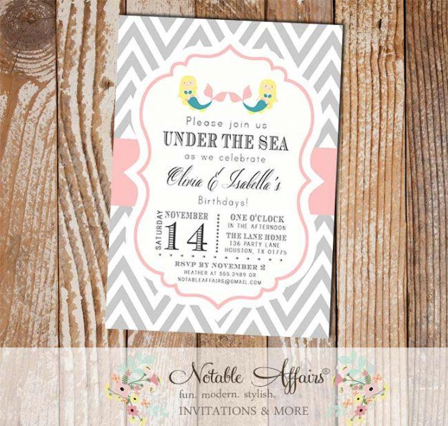 Gray and Light Pink Chevron with Twin Mermaid Twin Girls Under the Sea Modern Girl Birthday Invitation