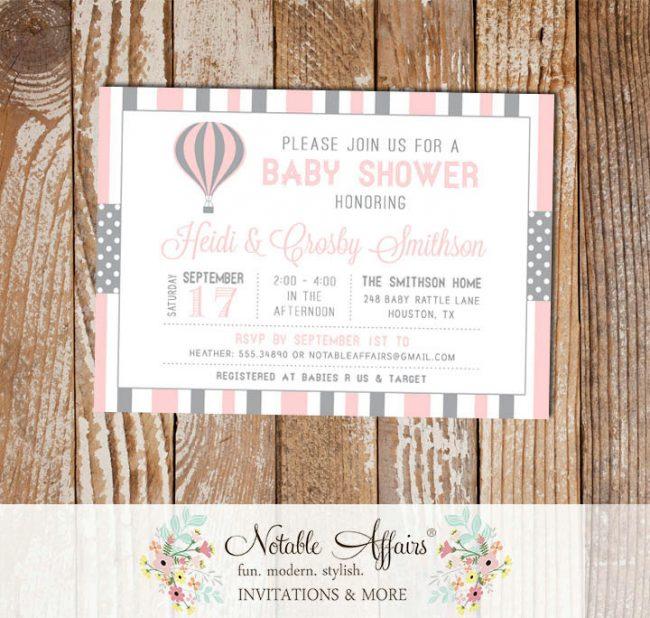 Gray and Light Pink Hot Air Balloon Stripes and Polka Dots Baby Shower invitation