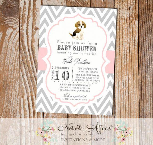 Gray and Light Pink Puppy Dog Modern Baby Shower, Bridal Shower, Birthday, etc Invitation
