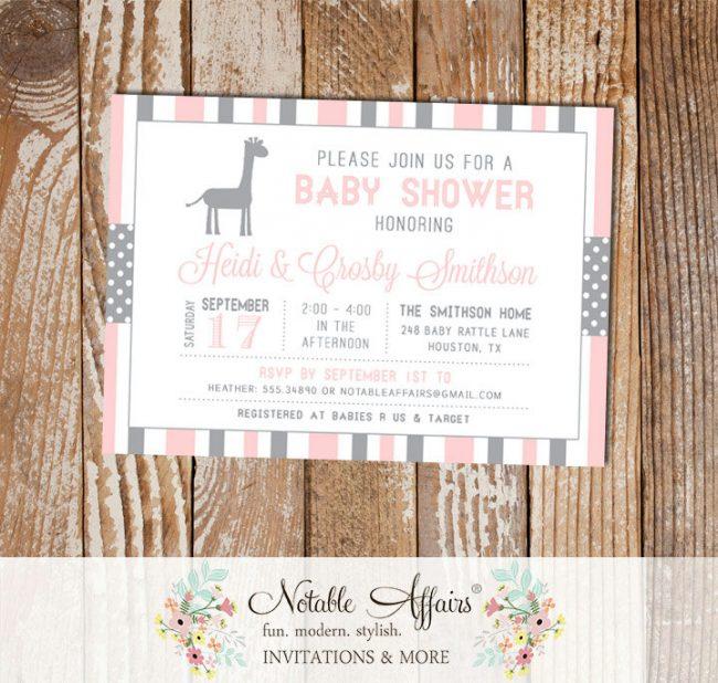 Gray and Light Pink Stripes Polka Dots Giraffe Modern Baby Shower Invitation