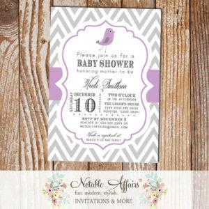 Gray and Light Purple Lavender Chevron with Little Birdie Bird Modern Girl Baby Shower Invitation
