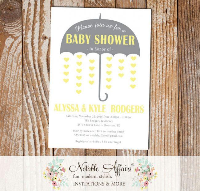 Gray and Light Yellow Gender Neutral Umbrella Hearts Baby Shower invitation