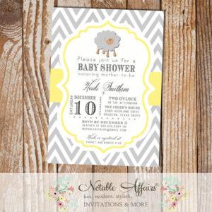 Gray and Light Yellow Lamb Sheep Chevron Baby Shower Birthday or Gender Reveal Invitation