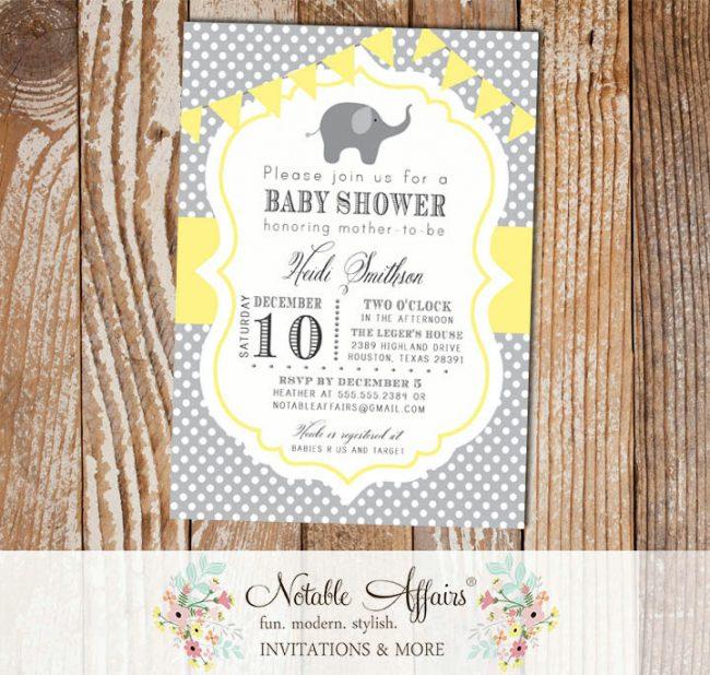 Gray and Light Yellow Polka Dot Elephant Modern Baby Shower Birthday Invitation with bunting