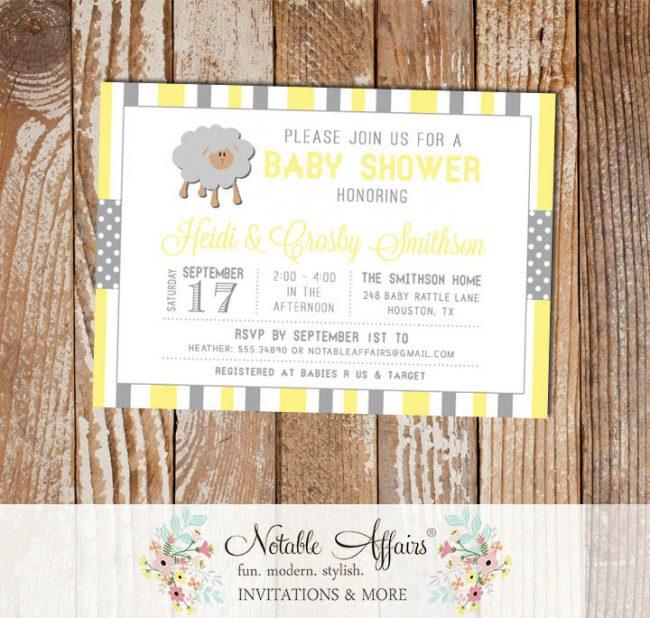 Gray and Light Yellow Sheep Stripes and Polka Dots Baby Shower invitation