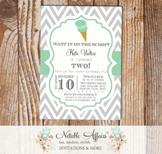 Gray and Mint Chevron Ice Cream Cone Dessert Birthday Party Baby Shower Modern Invitation