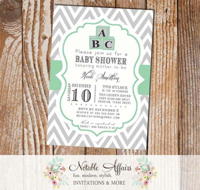 Gray and Mint Green ABC Blocks Modern Baby Shower, Bridal Shower, Birthday, etc Invitation