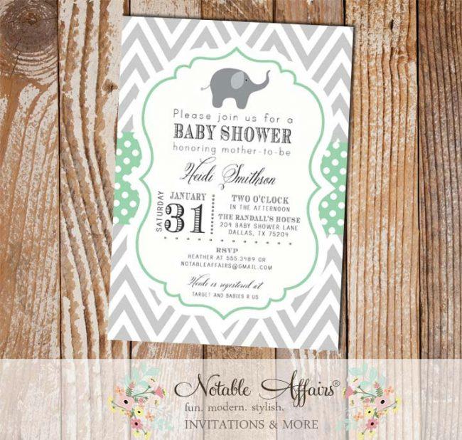 Gray and Mint Green Chevron Polka Dots Elephant Modern Baby Shower, Bridal Shower, Birthday, etc Invitation