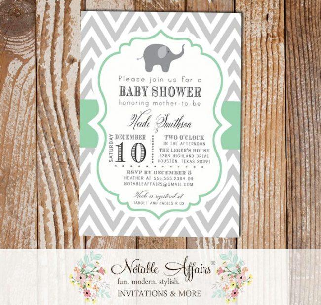 Gray and Mint Green Elephant Modern Baby Shower, Bridal Shower, Birthday, etc Invitation