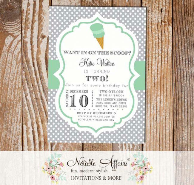 Gray and Mint Polka Dot Ice Cream Cone Dessert Birthday Party Baby Shower Modern Invitation