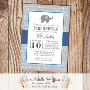 Gray and Navy Blue ABC Elephant Modern Baby Shower, Bridal Shower, Birthday, etc Invitation