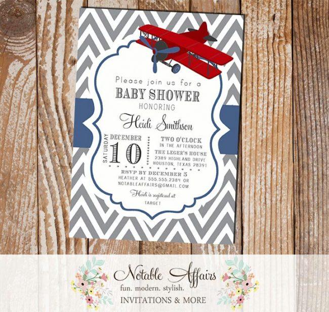 Gray and Navy Blue Chevron Airplane Baby Shower or Birthday Invitation