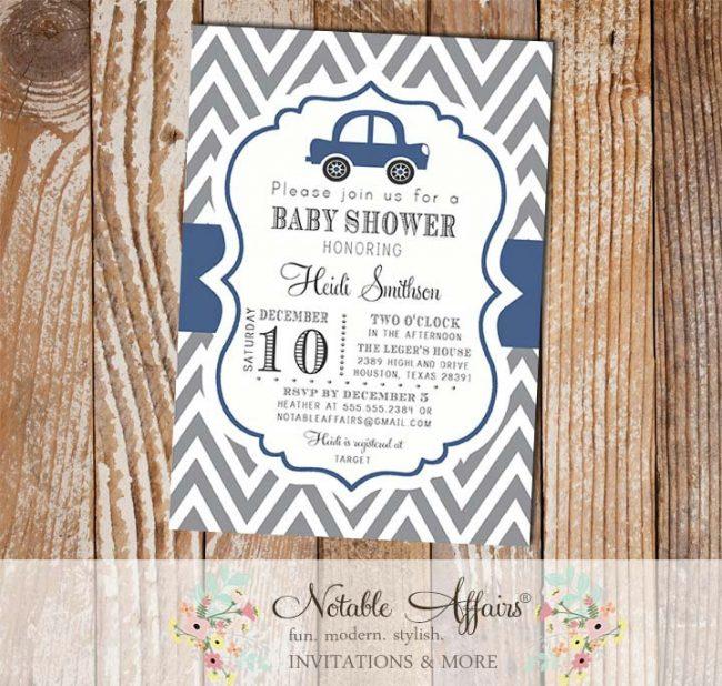 Gray and Navy Blue Chevron Car Baby Shower or Birthday Invitation
