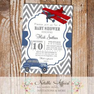 Gray and Navy Blue Chevron Vintage Car Baby Shower or Birthday Invitation